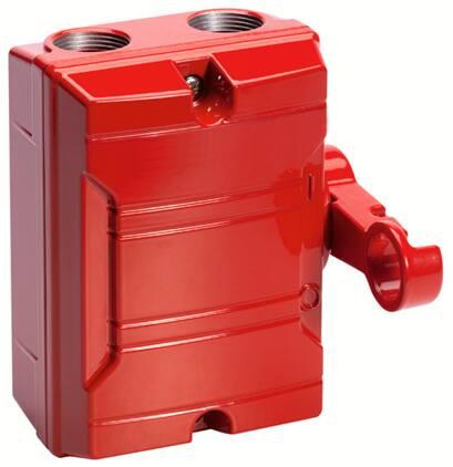 Brandweerschakelaar in Rode aluminium behuizing - Speciale hendel met halve ring - Zijbed. - 4P 25A.