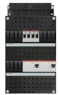 ABB Hafonorm installatiekast 3-fasen, 4 groepen, 2 ALS, 24mod, kunststof, hxbxd 390x220x90mm, inbouwd. 0-45mm, IP20