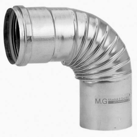Burgerhout aluminium enkelwandig rookgas, geplooide bocht, 90graden L= 130-190mm bocht, 110x110mm