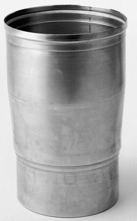 Burgerhout enkelwandig rookgas, verloop, aluminium, steekeind 130mm, mof 152mm, lengte 160/110mm