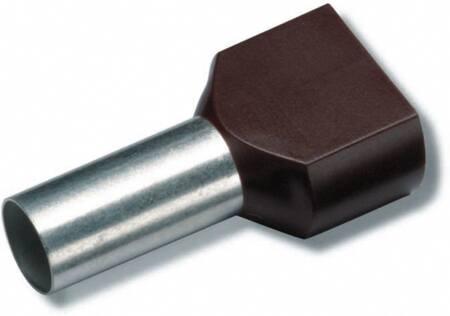 Cimco dubbele adereindhuls geïsoleerd, voor kabel 2 x 10mm2 x 14mm, huls 26 x 8mm, steekmaat 6,5mm, koper vertind, EN13600, bruin