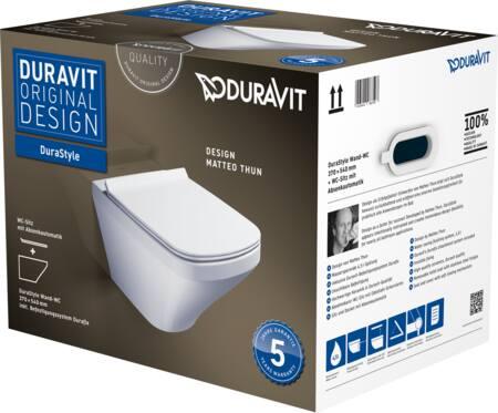 Duravit Durastyle wandcloset pack. Met: wandcloset met onzichtbare bevestiging, closetzitting met deksel en soft close. Wit
