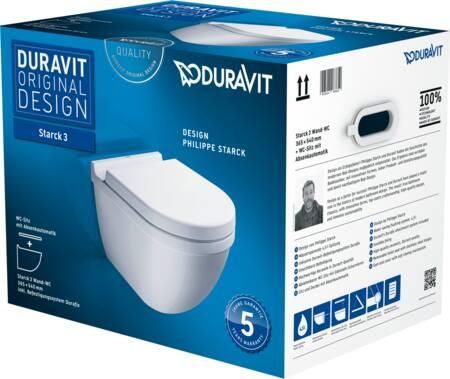 Duravit Starck 3 Pack: rimless wandcloset met softclose zitting, onzichtbare muurbevestiging, afmeting 54cmby Philippe Starck, wit.