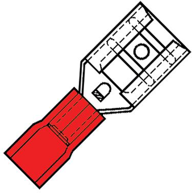 Geïsoleerde Vlakstekerhuls 6,3x0,8mm voor draad 0,5-1,5 mm2