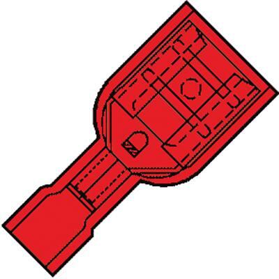 Vol.Geïsol. Vlakstekerhuls 6,3x0,8mm voor draad 0,5-1,5 mm2