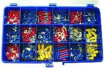 Klemko assortiment gangbare geïsoleerde kabelschoenen verpakt in een 18-vaks kunststof kist