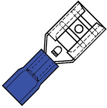 Klemko, Geïsoleerde vlakstekerhuls, plat, stekker 6,3x0,8mm, 0,5-1,5 mm2 doorsnede, max 600V, max 27A, PVC, fosforbrons, blauw.
