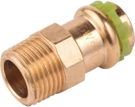 VSH Sudopress KOPER rechte koppeling, puntstuk 15mm x 3/8, koper (pers x buitendraad)