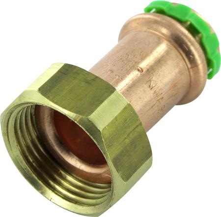 VSH Sudopress KOPER rechte koppeling, vlakdichtend, 42mm x 1 3/4, koper (pers x binnendraad - wartel)