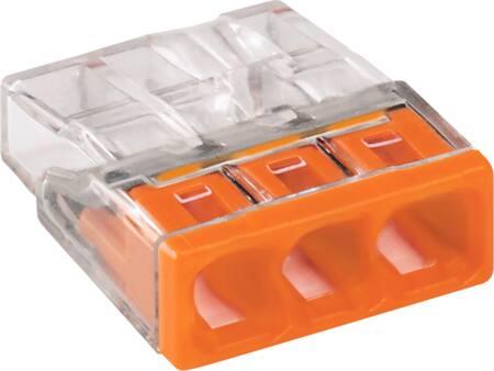 Wago lasklem 3-voud tranpsparant oranje