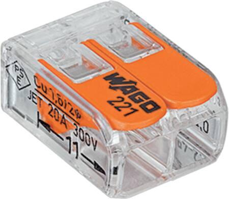 Wago Compacte, transparante verbindingsklem voor alle soorten geleiders, 2-voudig