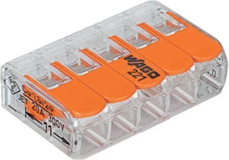 Wago Compacte, transparante verbindingsklem voor alle soorten geleiders, 5-voudig