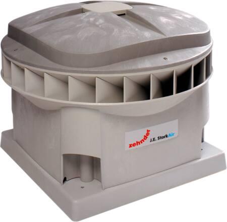 Zehnder MX dakventilator gelijkstroom, 50Pa: 1837m3h, 230V, 0.2kW, 1.4A, aansluitklem, diagonaal, 52dB, hoogte 473mm, dia 196mm