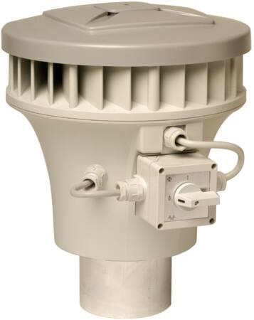 Zehnder KPM 19/24 pijpventilator paddenstoel, kunststof/aluminium Al99.5, 230V, 50Hz, 0,053kW, Qmax 0,424kW/(m3/s), 0,23A, snoer