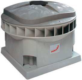Zehnder VDX dakventilator gelijkstroom, 50Pa: 1837m3h, 230V, 0.2kW, 1.3A, aansluitklem, diagonaal, 51dB, hoogte 473mm, dia 196mm