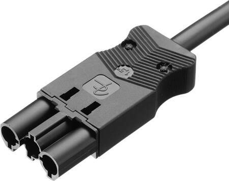 Adels aansluitsnoer, 3-polig, male, 2,5mm?, 200cm, zwart, Eca