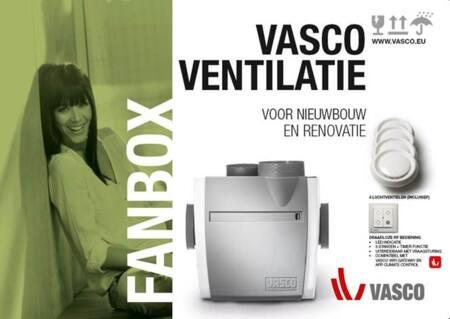 Vasco ventilatie FANBOX. Bestaande uit C400 Basic RF LE ventilatie box, Draadloze bediening en 4 luchtventielen