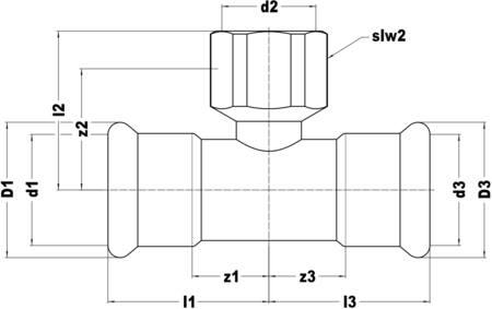 VSH Xpress T-stuk, 35mm x 3/4inch x 35mm staal (pers x binnendraad x pers)